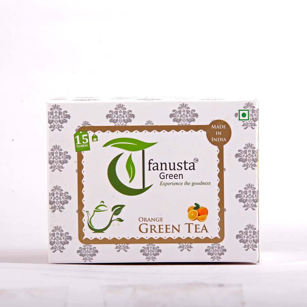 green tea orange 15 tea bags box