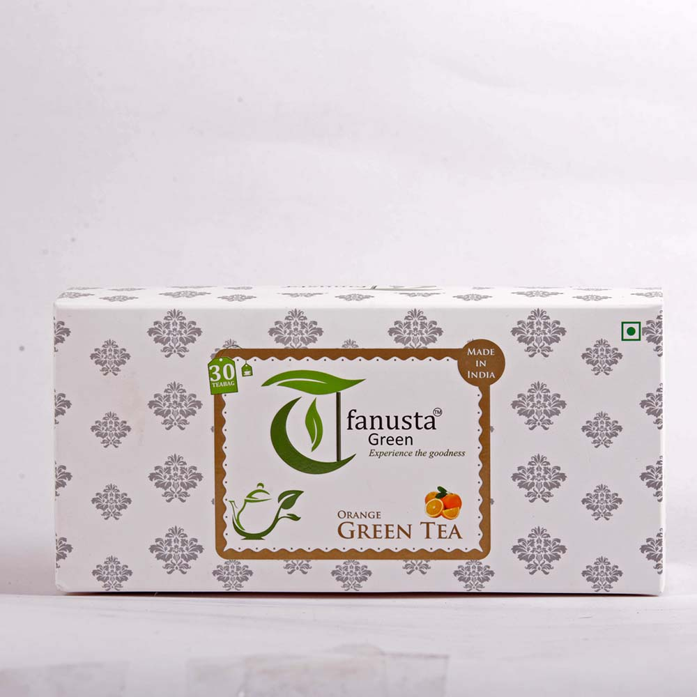 green tea orange 30 tea bags box